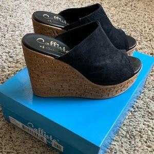 Callisto Sawyer Black Suede Sandals